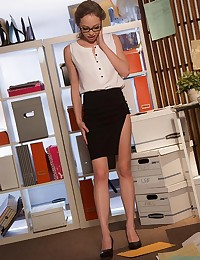 It's not Angel Smalls's fault her handsome boss gets her so flustered she can barely keep from knocking over stationary and spilling envelopes to the floor. Good thing Tyler guessed the perfect way to put her at ease: by fucking away the sexual tension in the room. After helping her clean up yet another fumble, Tyler led Angel to a desk, where he pulled her panties aside to suck on her lips and lick her clit. When Angel finally got her hands and mouth on Tyler's prick, she was so turned on she deepthroated as much of him as she could swallow, then rolled onto her back so Tyler could thrust into her mouth and tickle the back of her throat with his cock. After oral sex had fired them both up, Tyler grabbed a firm hold of Angel, and gave her the hard, dominant fuck she so craved from the big boss.